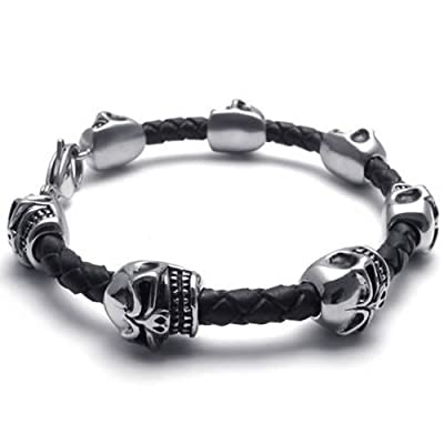 KONOV Jewelry Leather Stainless Steel Skull Charms Mens Bracelet Bangle, Black Silver, 8.5 inch by Pin Zhen