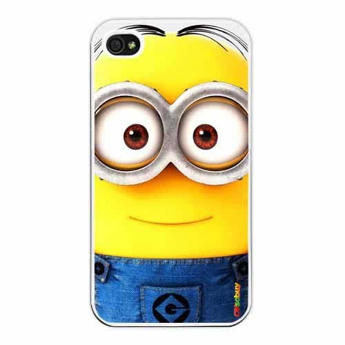 Despicable Me Minion Dave Fashion Design Hard Case Cover Skin Protector for Iphone 4 4s Iphone4 At&t Sprint Verizon Retail Packing(white Pc+pearlescent Aluminum) Ok-022