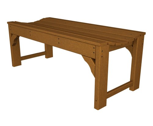 POLYWOOD BAB148TE Traditional Garden 48″ Backless Bench, Teak