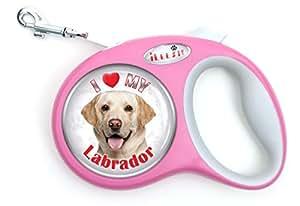 iLeesh i Love My Labrador Yellow Retriever Retractable Pink Leash