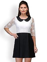 Purplicious Peter Pan Lace Monochrome Dress