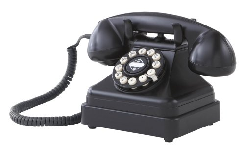 Crosley CR62-BK Kettle Classic Desk Phone with Push Button Technology (Black)