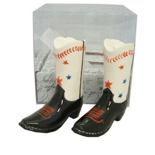 Baseball Star Western Texas Cowboy Boot Salt & Pepper Shakers Salt and Pepper Shaker Set - 3.5 Inch Tall S&P