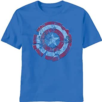 Mad Engine Captain America Glass Shield T-Shirt Blue