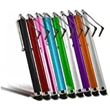 9X COLT� HQ Stylus Pen with Headphone Clips - for Apple iPhone 3G, iPhone 3GS, iPhone 4, iPhone 4S, iPhone 5, iPad 1, iPad 2, iPad 3, iPad 4, iPad Mini, Nokia Smartphones, Samsung Galaxy, HTC, Google, Blackberry, LG, Sony Ericsson Smartphones and all other touchscreen tablets - BLACK, RED, BLUE, WHITE, PINK, GREEN, SILVER, ORANGE, PURPLE
