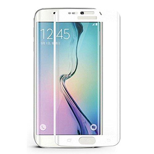 YUANSHOP® Samsung Galaxy S6 Edge 強化ガラスフィルム 液晶保護フィルム 9H硬度 0.3mm 耐指紋性、油性コーティング、防爆、気泡防止 ギャラクシーS6 エッジ 高級液晶保護フィルム 飛散防止フィルム (ホワイト)