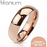 TIR-0008 Solid Titanium Rose Gold IP 6mm Wide Classic Band Ring; Comes With Free Gift Box