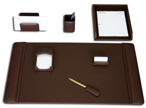 Dacasso Leather Desk Set, 7-Piece, Chocolate Brown Elegant Desk Accessories