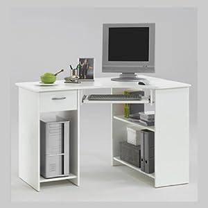 Home office white corner computer desk felix - Corner desks for home ...
