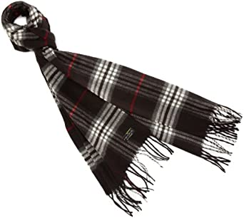 V Fraas Women's Plaid Scarf, Black, One Size