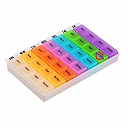 SahiBUY 7 Day Pill Box with Tray, Medicine Organizer ( Color May Vary )