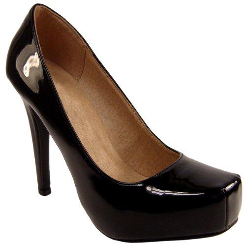 Womens Black Consealed Platform High Heel Square