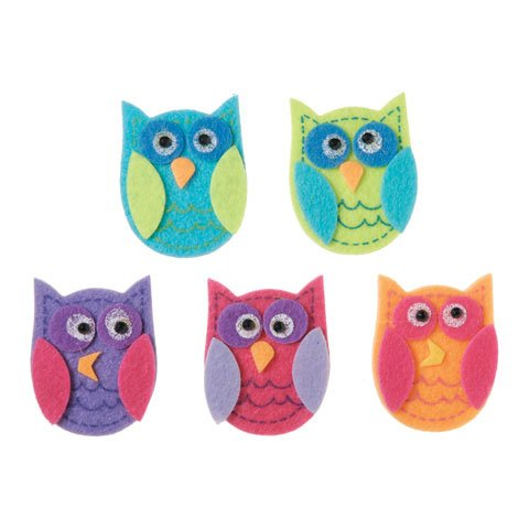 Bulk Buy: Darice Crafts for Kids Felties Felt Stickers Funky Owl 10 pieces (3-Pack) FLT-2783 - 1