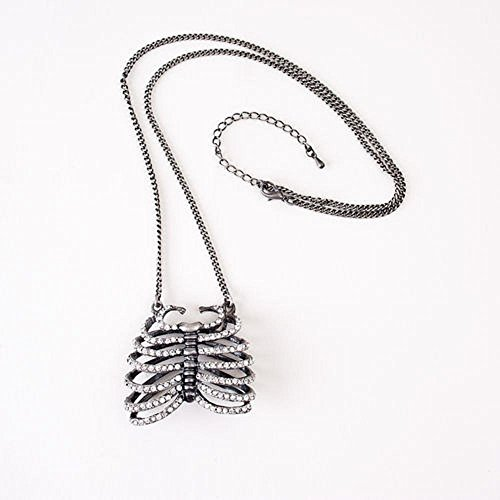 Faux Diamond Rib Cage Necklace Halloween 22""