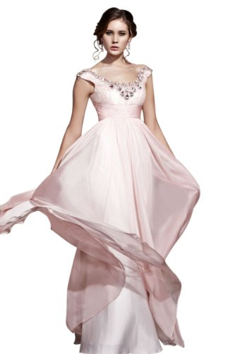 CharliesBridal Light Pink Scoop Neck Floor Length Evening Dress - XL - Light Pink