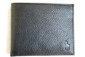 Polo-Ralph-Lauren-Textured-Genuine-Black-Leather-Passcase-Wallet
