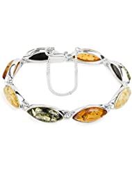 Multicolor Amber Sterling Silver Marquise-shaped Bracelet 17.5cm