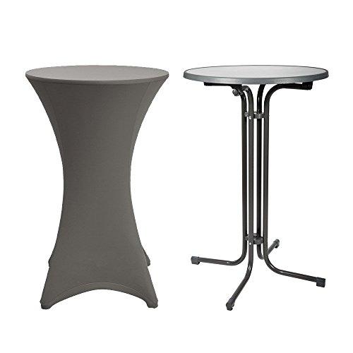 beautissu stehtisch 80cm mit stretch husse als komplett set bistro tisch klappbar grau. Black Bedroom Furniture Sets. Home Design Ideas