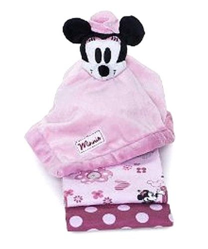 Disney Minnie Mouse 2-Pack Receiving Blankets and Security Blanket - 1