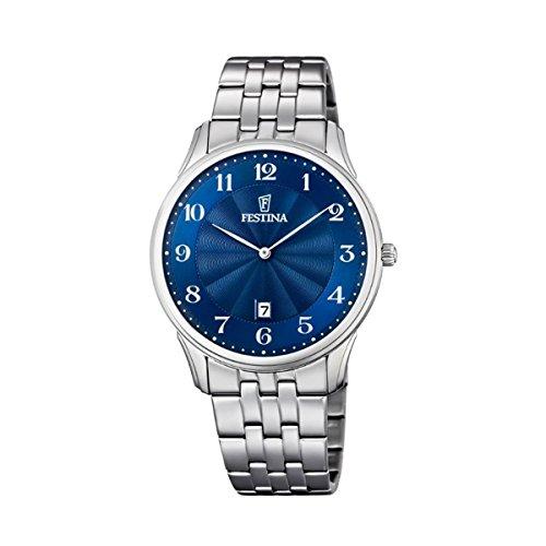 Reloj Cuarzo Festina Para Unisex Con  Azul Analogico Y Plata Acero inoxidable F6856/3
