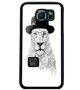 PrintDhaba Lion Sketch D-1060 Back Case Cover for SAMSUNG GALAXY S6 (Multi-Coloured)