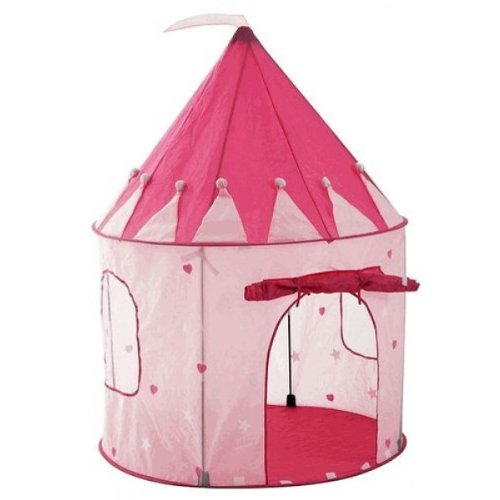Girl's Pink Princess Castle Play Tent with Glow in the Dark Stars by Pockos - Indoor / Outdoor