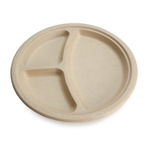 Earths-Natural-Alternative-Wheat-Straw-Fiber-Bagasse-Sugarcane-Tree-Free-10-3-Compartment-Round-Plate-500Case
