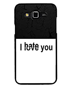Fuson 2D Printed Love-Hate Designer back case cover for Samsung Galaxy Grand 3 - D4289