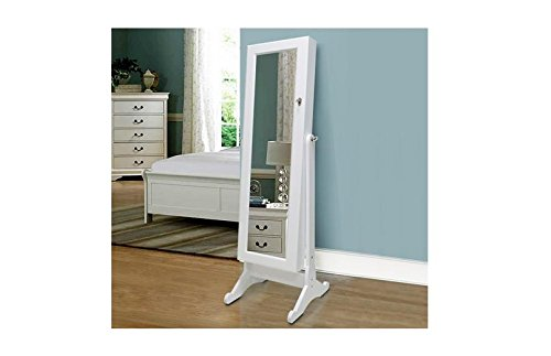 White Color Wood Mirroed Jewelry Organizer Cabinet Armoires Stand Box With Lock Floor Standing front-300328