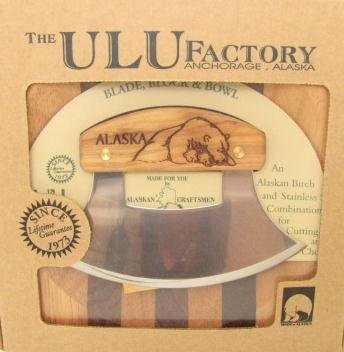 Ulu Factory Alaska Ulu Birch Walnut Stripe Wood Chopping Bowl-board Polar bear Design Handle