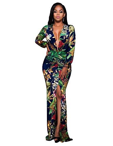 Women Sexy Deep V Neck Long Sleeve Front Split Flower Print Slim Long Maxi Dress Print S (Split Front Prom Dress compare prices)