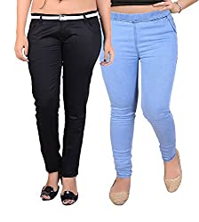Goodgift Blue & Black Denim Lycra Jeggings With Jeans