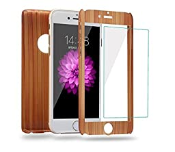 Auroralove iPhone SE Case iPhone 5/5s Case Full Body Front Back Slim Plastic Hard Case with Tempered Glass Screen Protector for iPhone 5/5/SE (Wood)