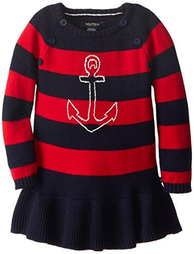 Nautica Little Girls' Anchor Sweater Dress, Red, 3T