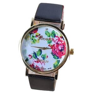 2014 Susenstore Fashion Women Leather Rose Flower Watch Quartz Watches Gift (Black)
