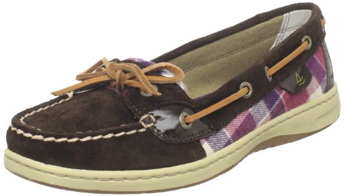 SPERRY ANGELFISH 9102 DK BROWN PLAID WOMENS BOAT SHOES Size 6M