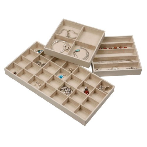 Stock Your Home Stacking Faux Leather Jewelry Trays Set of 3 with Dual Jewelry Organization and Jewelry Storage Functionality (Jewelry Drawer Organizer Tray compare prices)