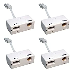 4 x ADSL Microfilter with Tail (Quad Pack) - Premium Quality / BT Approved / Broadband & Phone Socket / Male to Female / Adapter / RJ11