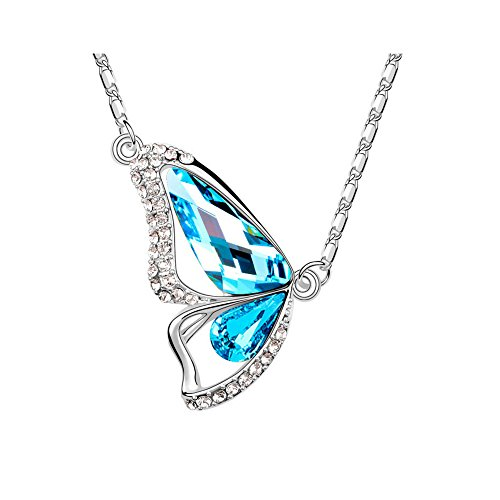 The Starry Night 18k Silver Plated Butterfly Diamond Accented Ocean Blue Crystal Pendant Necklace