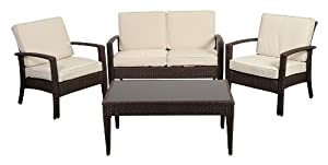 Atlantic 4-Piece Corfu Deluxe Wicker Conversation Set, Brown with Off-White Cushions from International Home Miami Corp