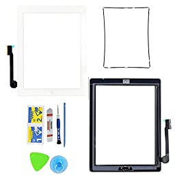 Monkey Touch Screen Digitizer Assembly for White Apple iPad 4 Model A1458, A1459, A1460 + Home Button,Adhesive Tape and Tools