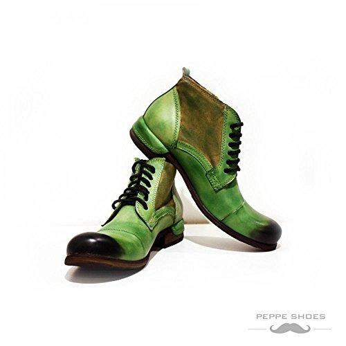 Modello Pescara - 45 UE - fatti a mano scarpe di cuoio italiane Colorful scarpe stivali da uomo Up casual formale Premium Unique Vintage Alti merletto delle