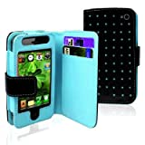 Importer520 Baby Blue Dot Flip PU Leather Card Holder Wallet Case Cover Pouch For iPhone 4 4S 4G