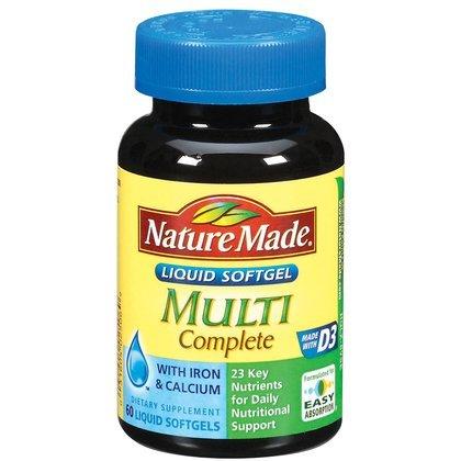 Nature Made Multi-Complete with D3, Iron & Calcium, Liquid Softgels, 60-Count (Multivitamin Gel Caps compare prices)