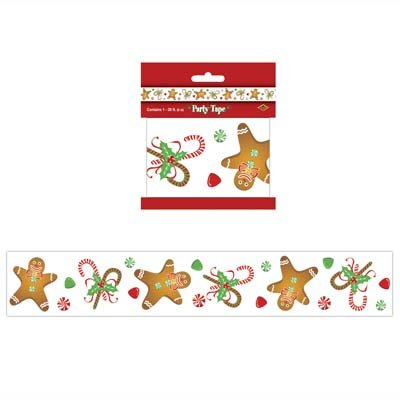 40 ft GINGERBREAD BOY/MAN PARTY Tape/STREAMERS/CHRISTMAS/Holiday DECORATIONS/2 Pks 20' each DECOR/PARTY/OFFICE/CANDY CANES/FESTIVE