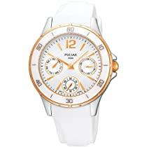 Pulsar Ladies Rose Tone Bezel Silver Dial White Plastic Strap Watch PP6022