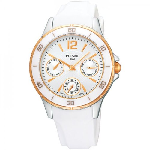 Pulsar by Seiko Multifunction Silver Dial Rose Gold Case White Resin Strap Ladies Watch PP6022