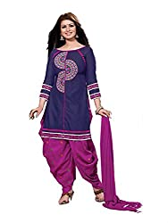 Divisha Fashions Violet and Pink Embroidered Cotton Dress Material with dupatta