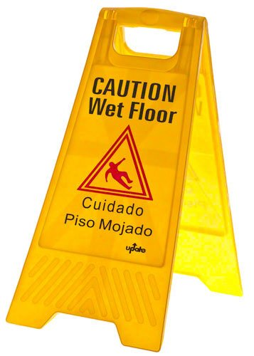 Update International WFS-25 Plastic Fold-Out Wet Floor Sign, Yellow, 24 by 12-Inch