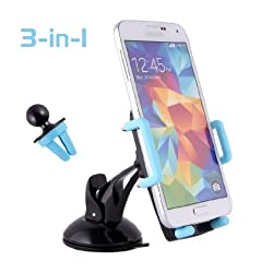 2 in 1 Car Mount,Tepoinn Universal Air Vent/Ashboard/Windshield Car Holder Cradle with 360 Degree Rotation for iPhone 6 6 Plus 5 5S 5C,Samsung Galaxy S6 Edge S3 Note,Google Nexus,HTC, LG G3